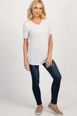 Heather Grey Pinstriped Basic V-Neck Top
