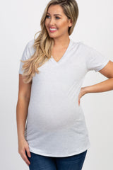 Heather Grey Pinstriped Basic V Neck Maternity Top