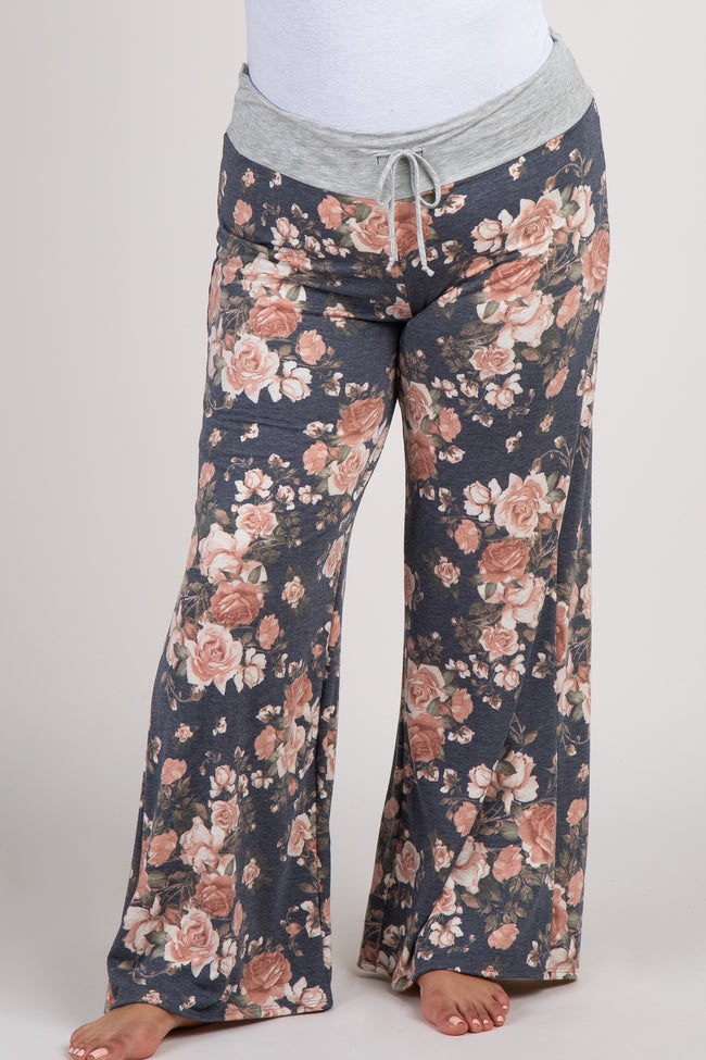 PinkBlush Navy Blue Rose Drawstring Plus Lounge Pants
