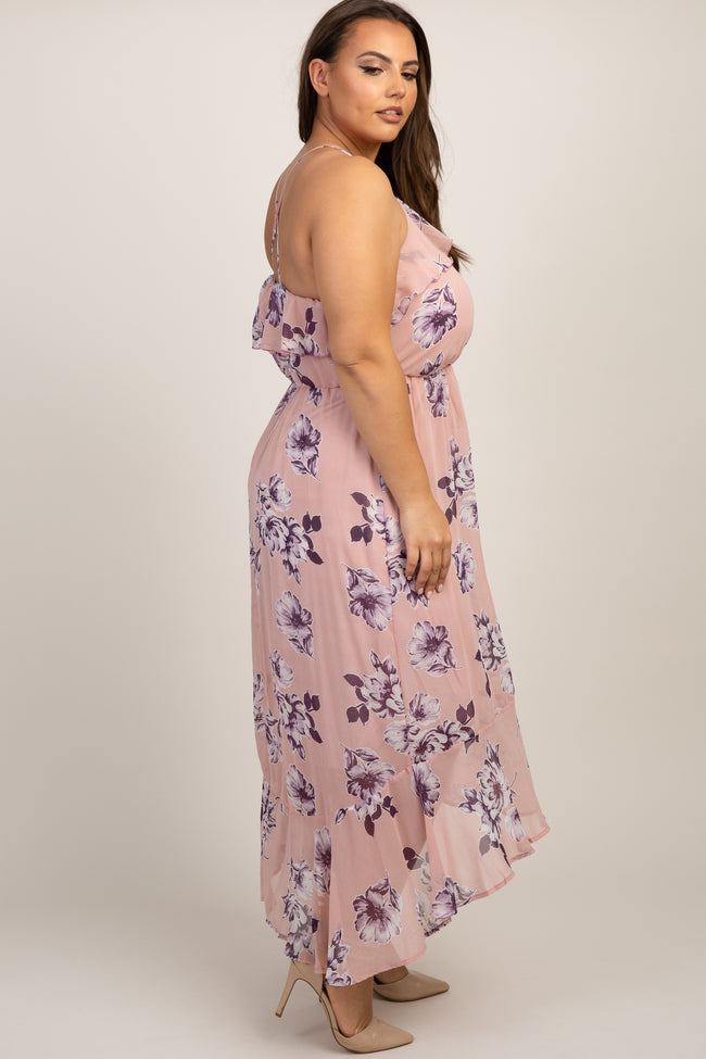 Pink Floral Ruffle Trim Hi-Low Halter Plus Maxi Dress