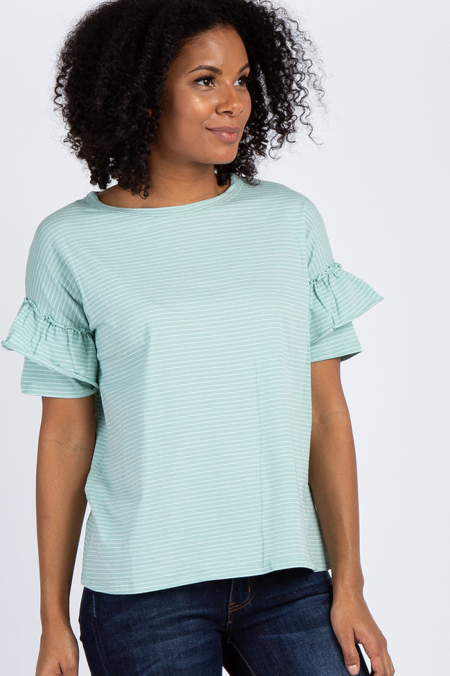 Mint Striped Short Ruffle Sleeve Maternity Top