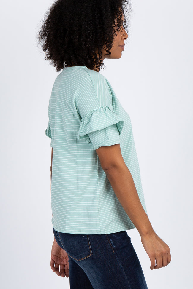 Mint Striped Short Ruffle Sleeve Top