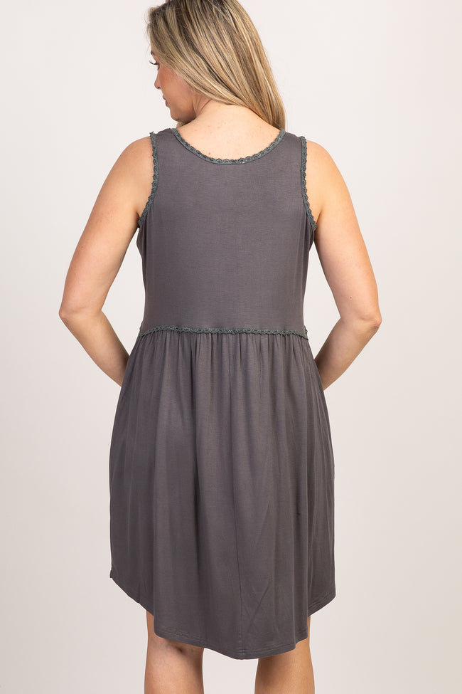 Charcoal Sleeveless Crochet Trim Peplum Maternity Dress