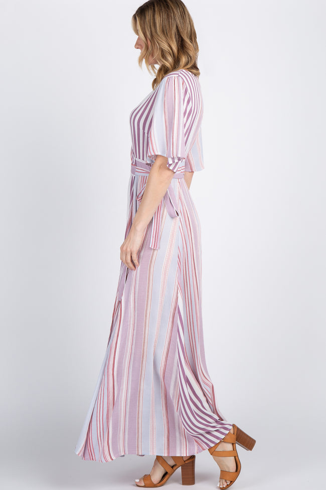 Lavender Multi-Color Striped Bell Sleeve Wrap Maxi Dress