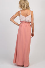 Pink Striped Colorblock Maternity Maxi Dress