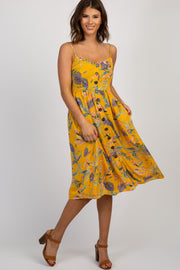 Yellow Floral Button Front Midi Dress