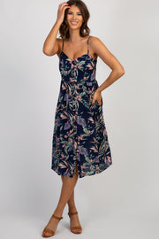 Navy Blue Floral Button Front Midi Dress