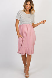 Pink Colorblock Striped Ruffle Dress