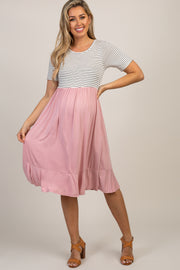 Pink Colorblock Striped Ruffle Maternity Dress