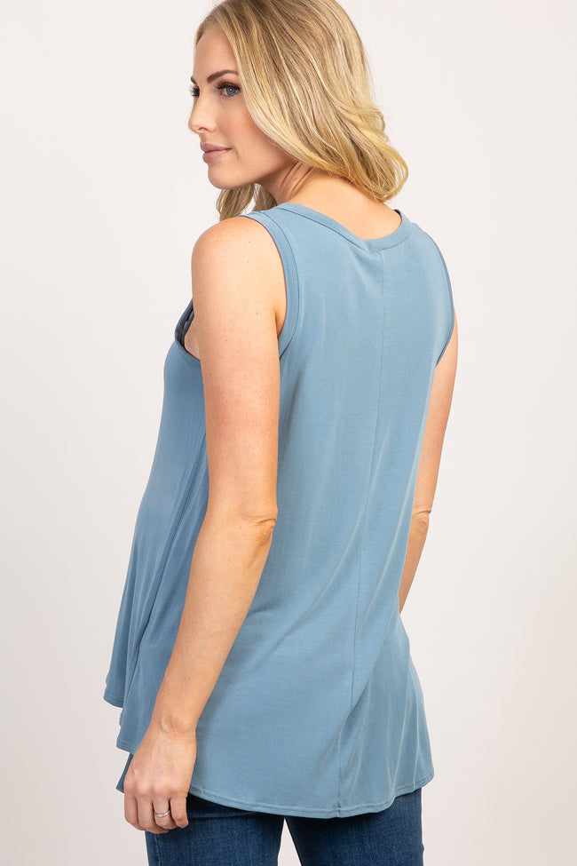 Blue Solid Sleeveless Tie Front Top