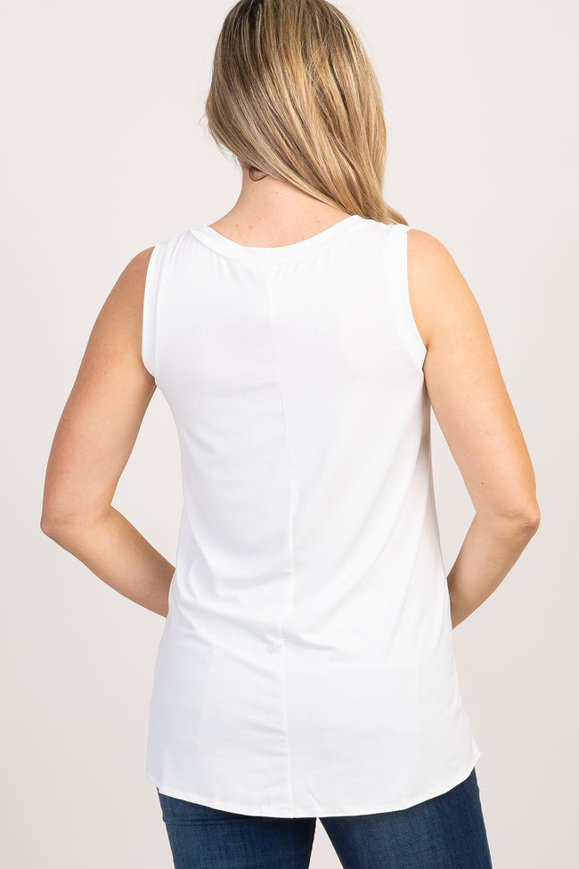 White Solid Sleeveless Tie Front Maternity Top