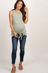 Light Olive Solid Sleeveless Tie Front Top