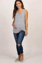 White Striped Sleeveless Tie Front Top