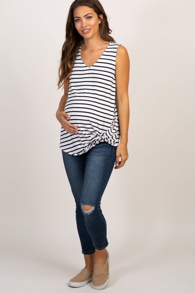 White Striped Sleeveless Tie Front Maternity Top