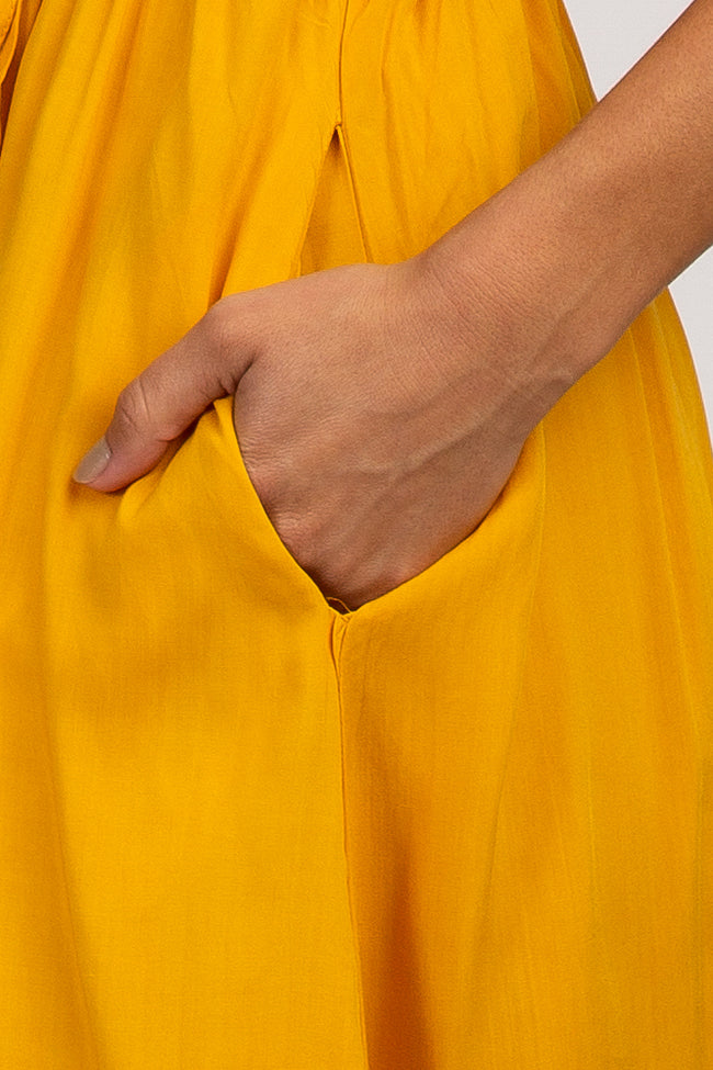 Mustard Solid Embroidered Off Shoulder Maxi Dress