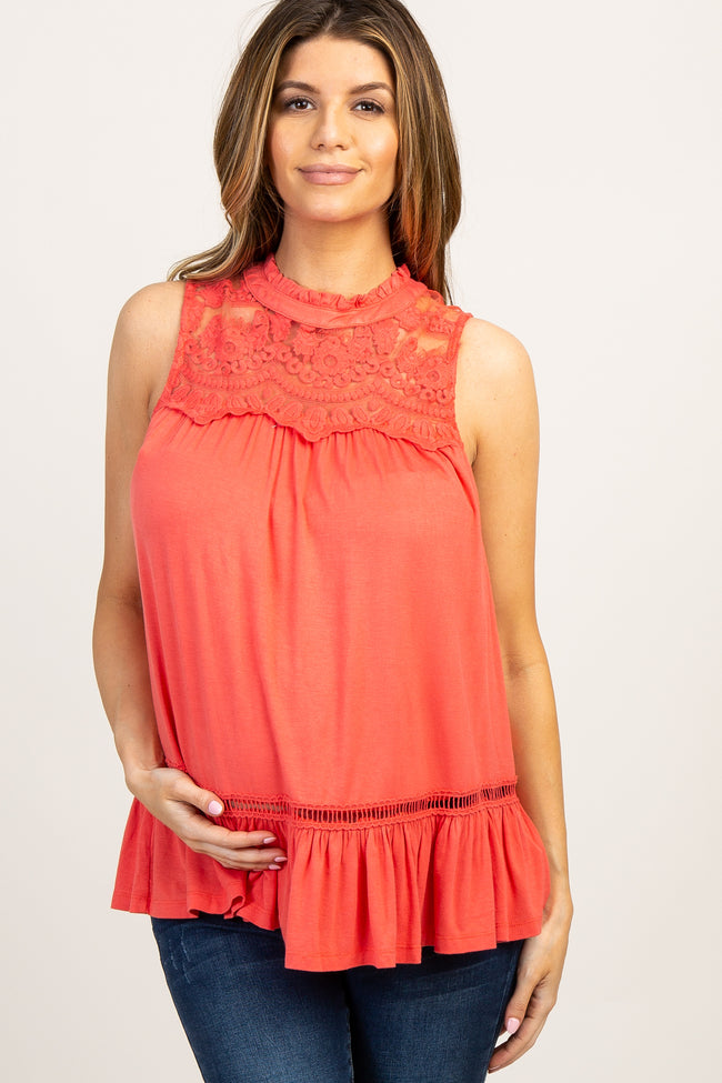 Coral Solid Crochet Accent Sleeveless Maternity Blouse