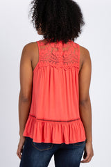 Coral Solid Crochet Accent Sleeveless Blouse