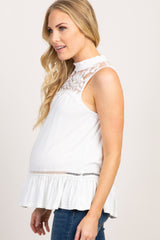 White Solid Crochet Accent Sleeveless Maternity Blouse