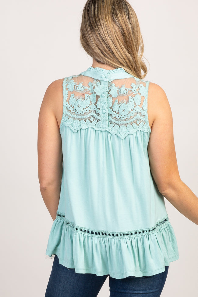 Mint Green Solid Crochet Accent Sleeveless Blouse