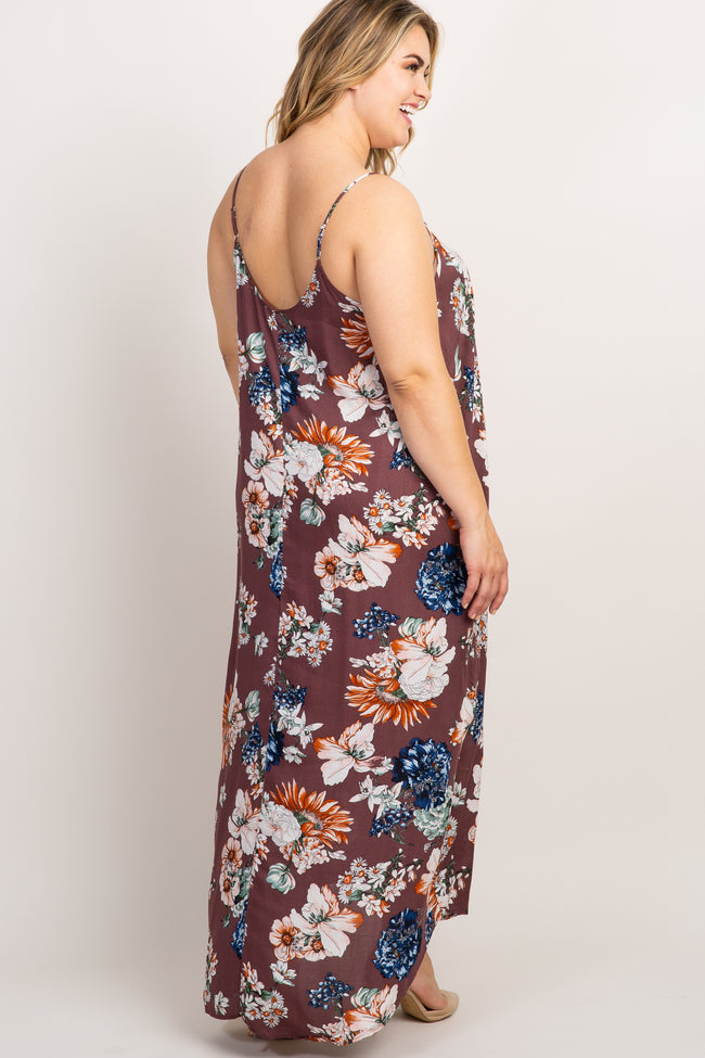 Mauve Floral Print Cami Plus Maternity Maxi Dress