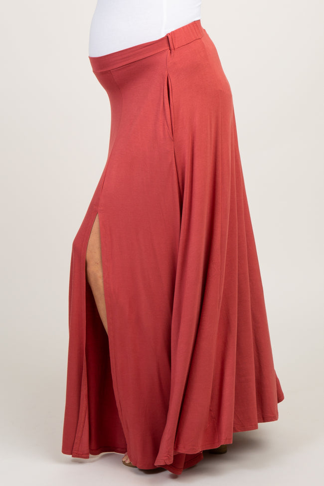Rust Solid Open Slit Maternity Maxi Skirt