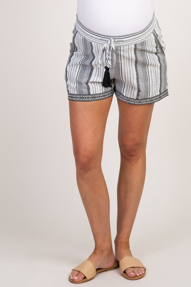 White Black Striped Embroidered Tassel Waist Tie Maternity Shorts