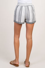 White Striped Embroidered Tassel Tie Shorts