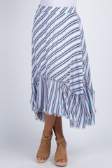 Multi Color Striped Asymmetrical Midi Skirt
