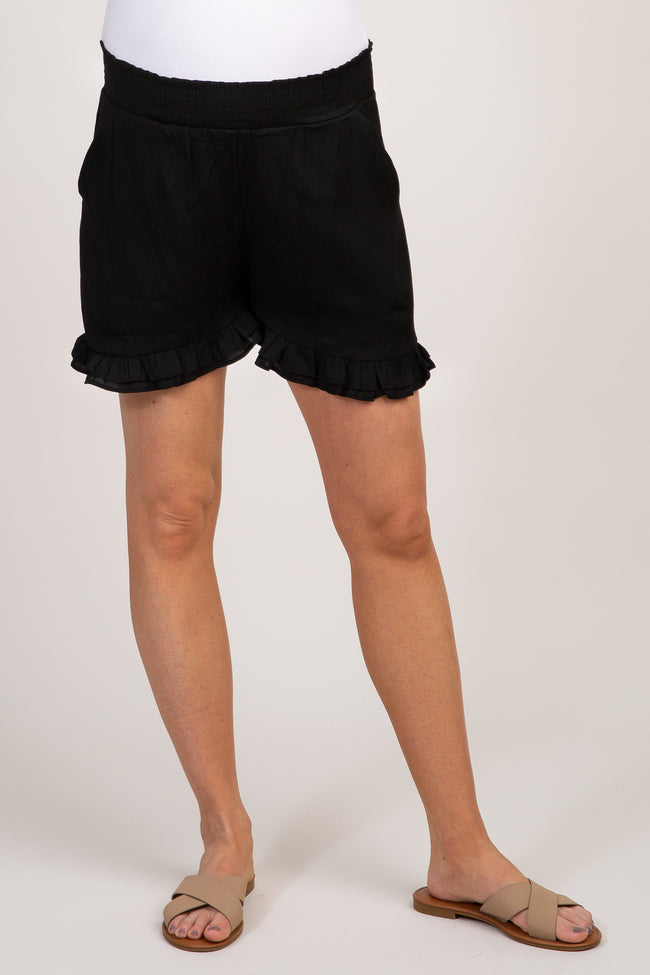 Black Smocked Waist Ruffle Trim Maternity Shorts