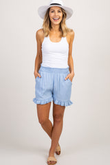 Light Blue Smocked Waist Ruffle Trim Shorts