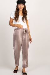 Mocha Striped Tie Front Maternity Pants