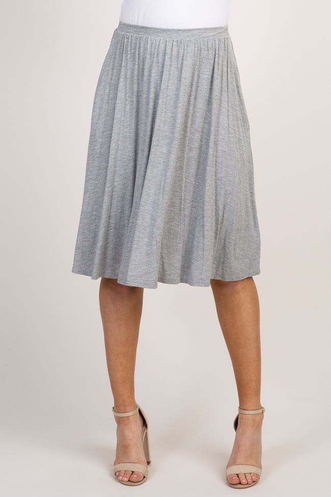 Heather Grey Basic Pleated Skirt
