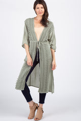 Sage Green Crochet Accent Drawstring Waist Maternity Cover Up