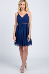Navy Blue Lace Overlay Pleated Dress