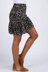 Black Animal Print Ruffle Skirt