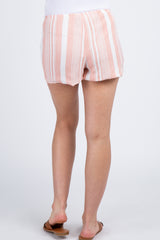 Pink Striped Scallop Trim Maternity Shorts