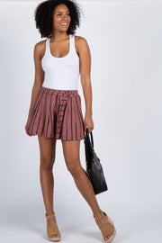 Burgundy Striped Double Belted Shorts