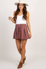 Burgundy Striped Double Belted Maternity Shorts