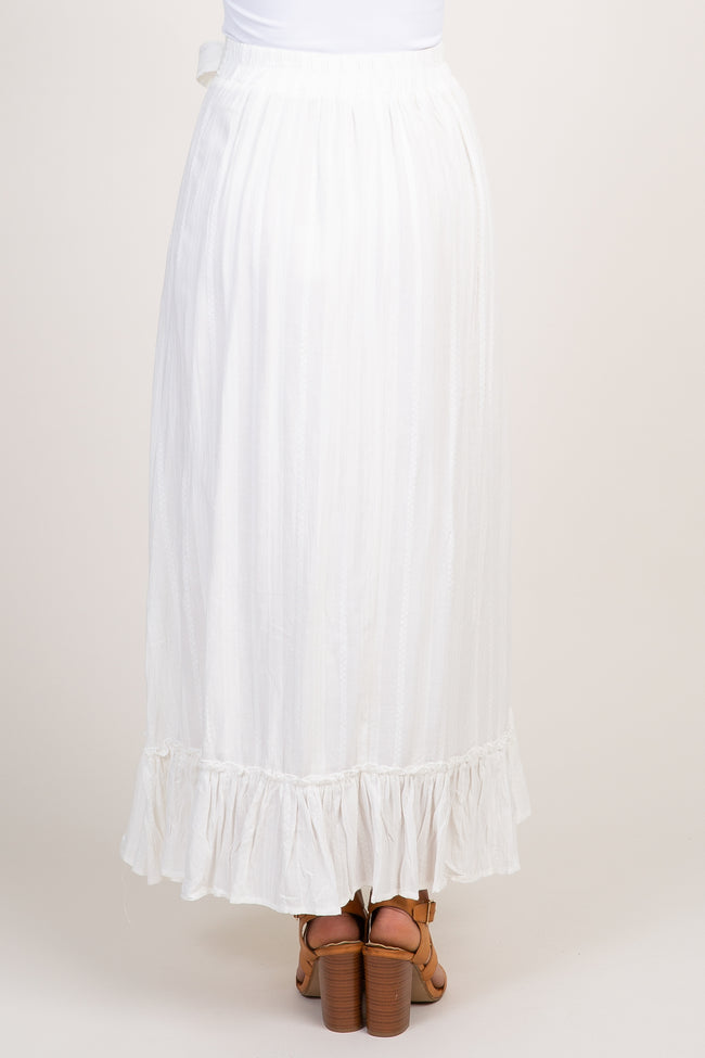 White Embroidered Tie Front Maxi Skirt