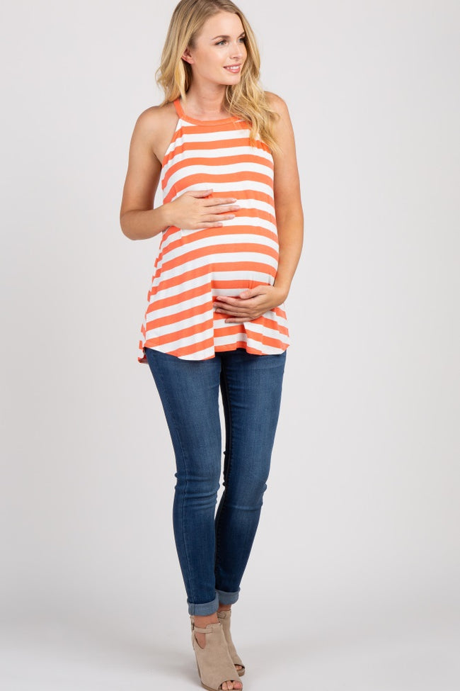 Coral Striped Halter Neck Maternity Top