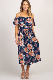 Navy Floral Cold Shoulder Ruffle Trim Midi Dress