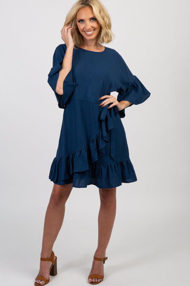 Navy Solid Ruffle Accent Tie Dress