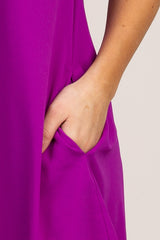 Purple Mock Neck Cold Shoulder Ruffle Trim Shift Dress