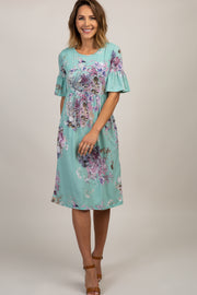 Mint Green Floral Ruffle Sleeve Dress