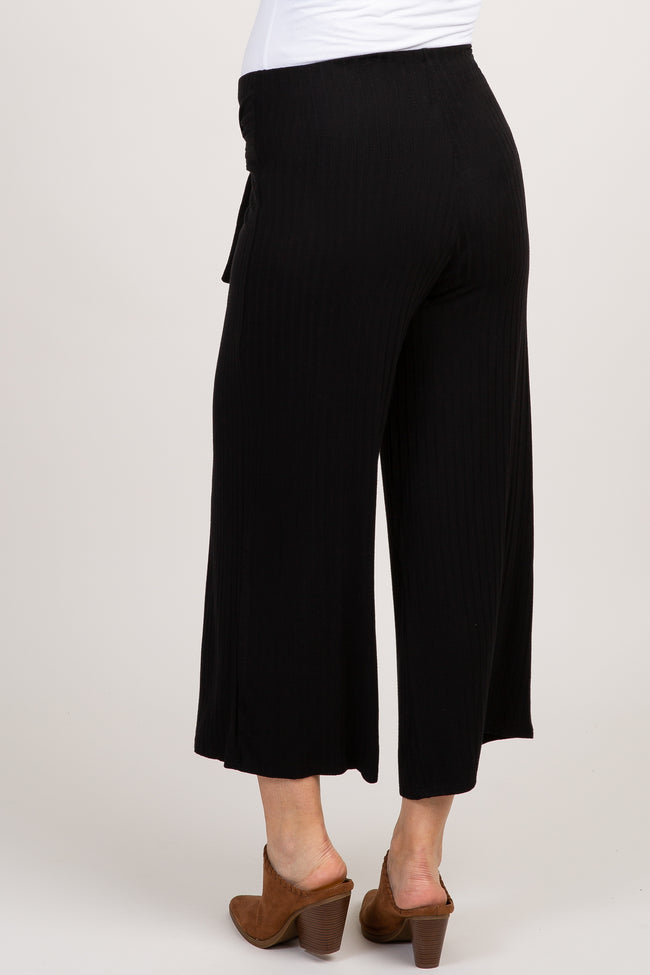 Black Solid Ribbed Tie Front Wide Leg Maternity Pants
