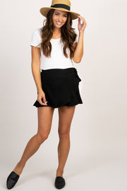Black Solid Tie Front Shorts
