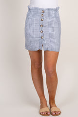 Blue Striped Button Down Skirt