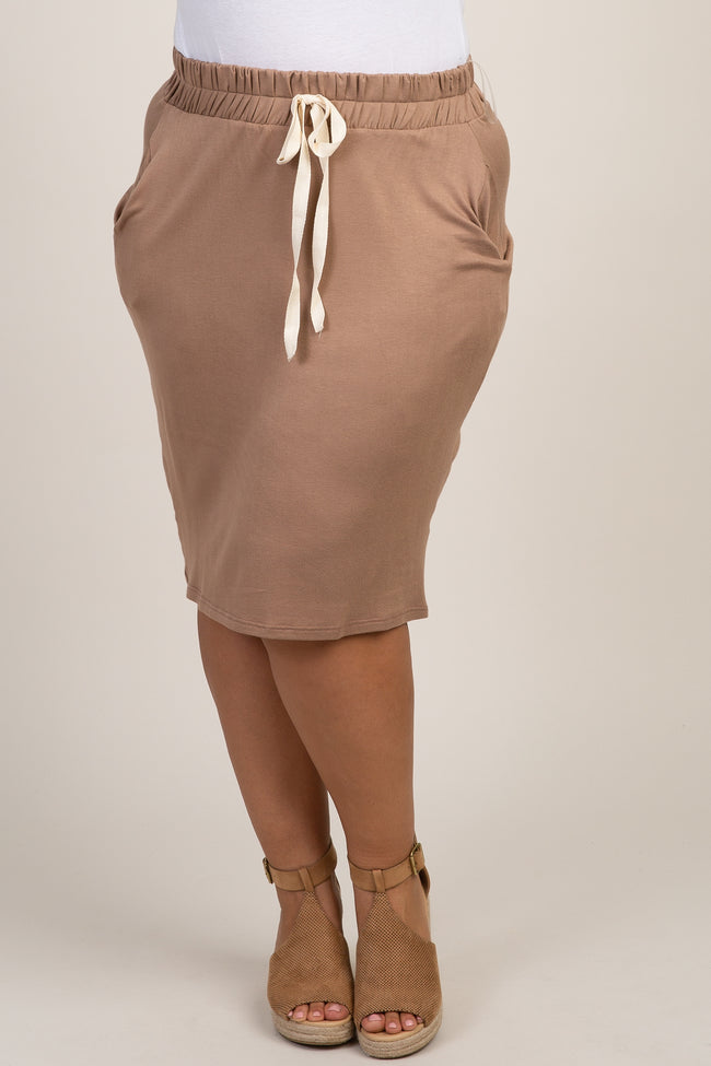 Mocha Solid Tie Front Plus Skirt