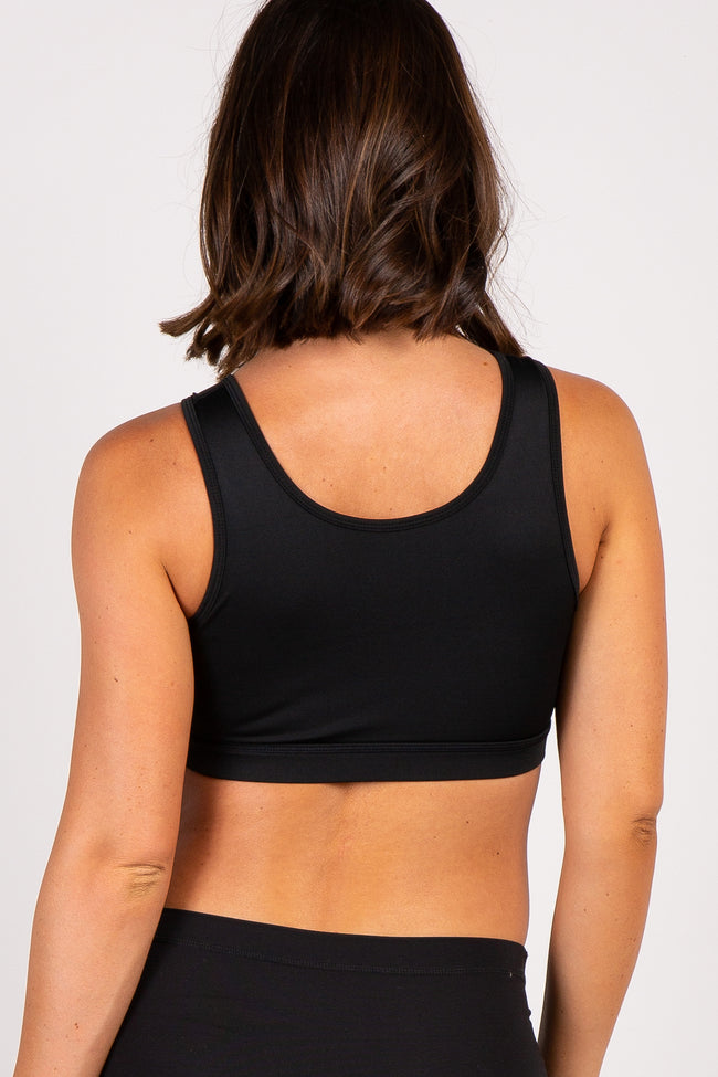 Black Button Front Padded Maternity Sports Bra