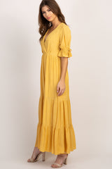 Yellow Polka Dot Ruffle Trim Maxi Dress